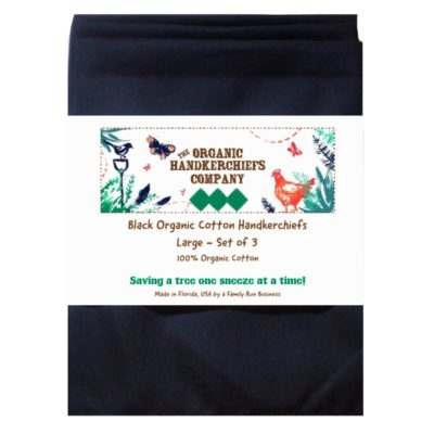 The Organic Handkerchiefs Company Men's Organic Cotton Handkerchiefs Large Black