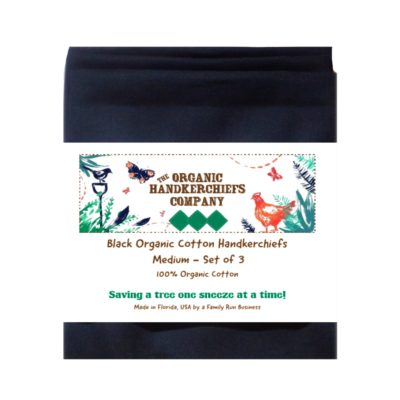 The Organic Handkerchiefs Company Men's Organic Cotton Handkerchiefs, Black (3)