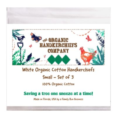 The Organic Handkerchiefs Company Men's Organic Cotton Handkerchiefs Small White